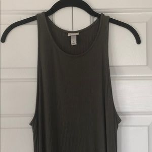 A New Day Army Green Ribbed Maxi Dress